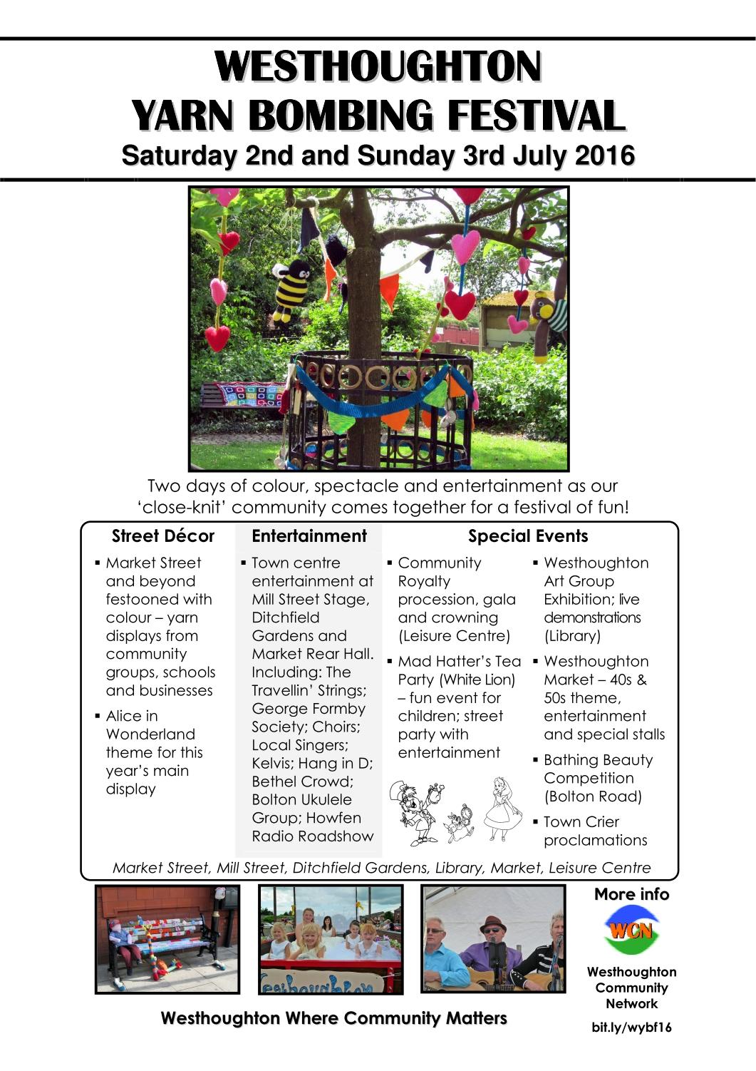 Westhoughton Yarn Bombing Festival 2016 - Alice In Wonderland theme
