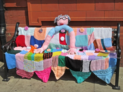 Westhoughton Yarn Bombing Festival 14th / 15th July 2018 - Senior Solutions yarnbomb bench!