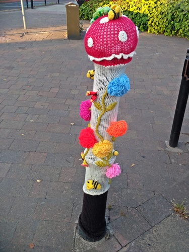 Westhoughton Yarn Bombing Festival 14th / 15th July 2018 - Ditchfield Gardens, bollard yarn-bombed!